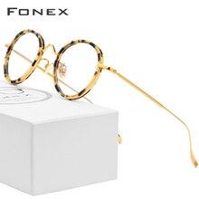FONEX Titan Brille Rahmen Männer Frauen Neue Vintage Runde Ultraleicht Brillen Rezept Myopie Optische Rahmen Eyewear