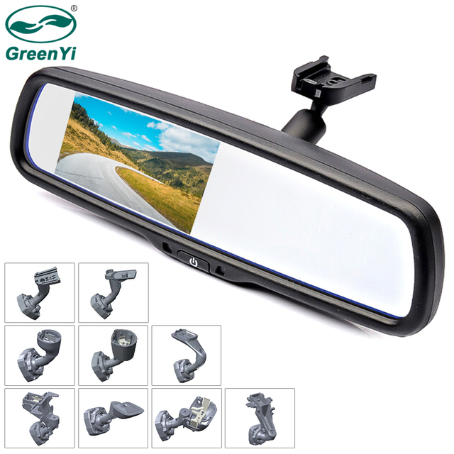 GreenYi 4.3 inch TFT LCD Car Rear View Mirror Monitor with Special Original Bracket 2 Video Input for Parking Assitance