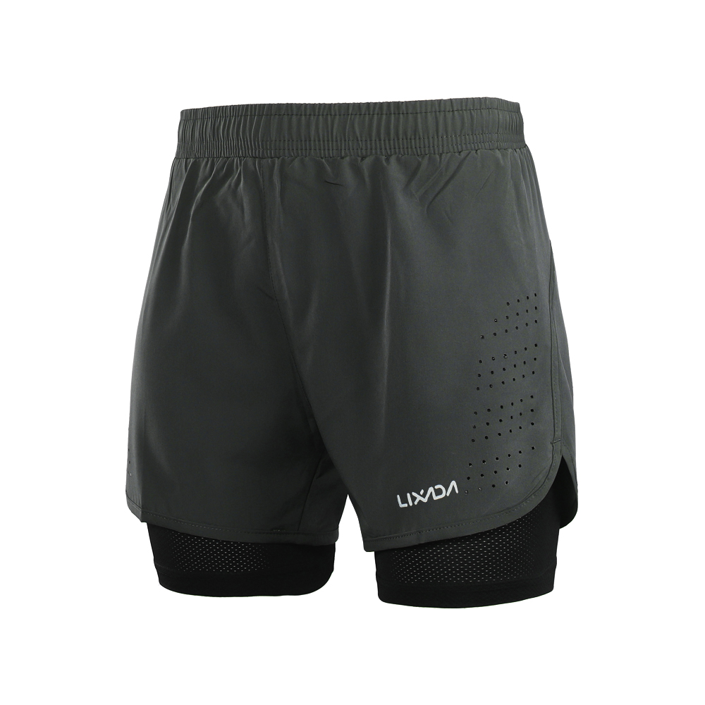 Lixada Men's 2-in-1 Running Sport Shorts Quick Drying Breathable Gym Training Exercise Jogging Cycling Shorts With Longer Liner 15