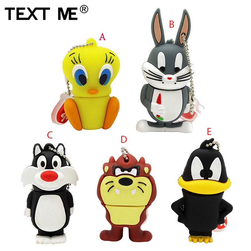TEXT ME Cartoon 64GB Rabbit Lion Duck Usb Flash Drive Usb 2.0 4GB 8GB 16GB 32GB  Pendrive Cute Gift Usb