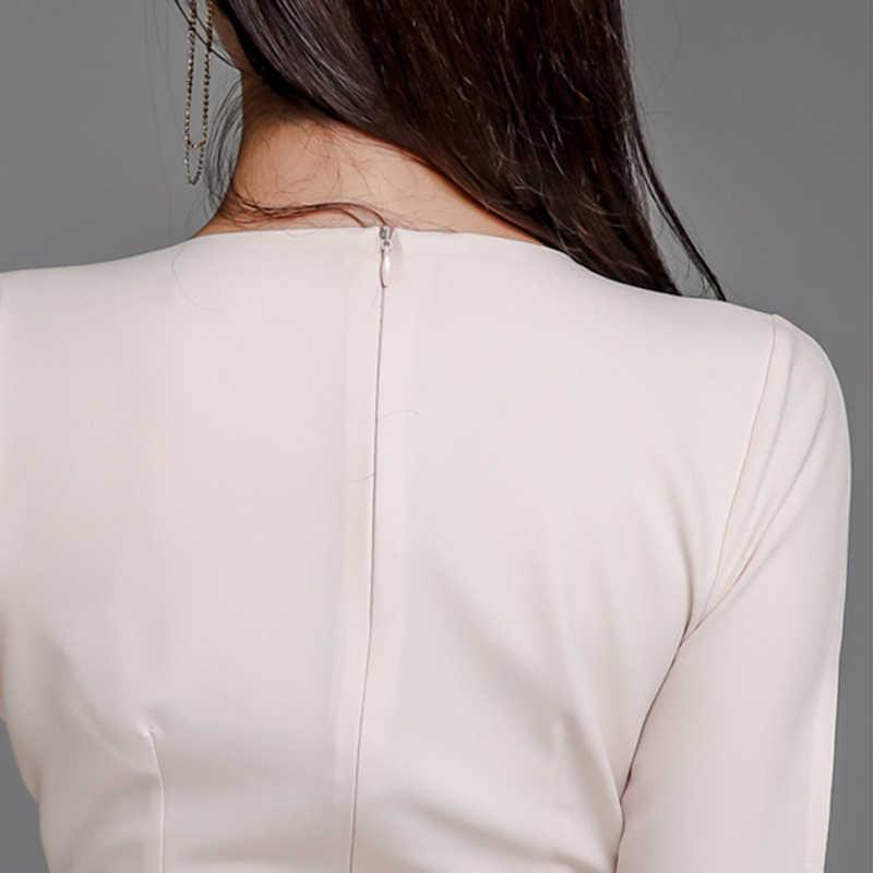 BGTEEVER 作業服 2 枚セット V ネックスプリットスリーブブラウス & ハイウエストダブルブレストスカートスーツ女性 2019 エレガントな女性セット