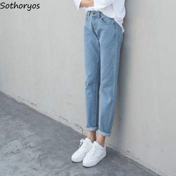 Jeans Women High Waist Solid Slim High-quality Pockets Button Trendy 2020 New Students Womens Ladies Lovely Elegant Simple Daily фото