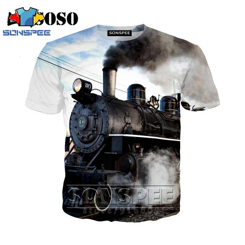 Anime 3d print t shirt Steam engine streetwear steamer Men Women train fashion dj t-shirt Harajuku kids shirts homme tshirt A110