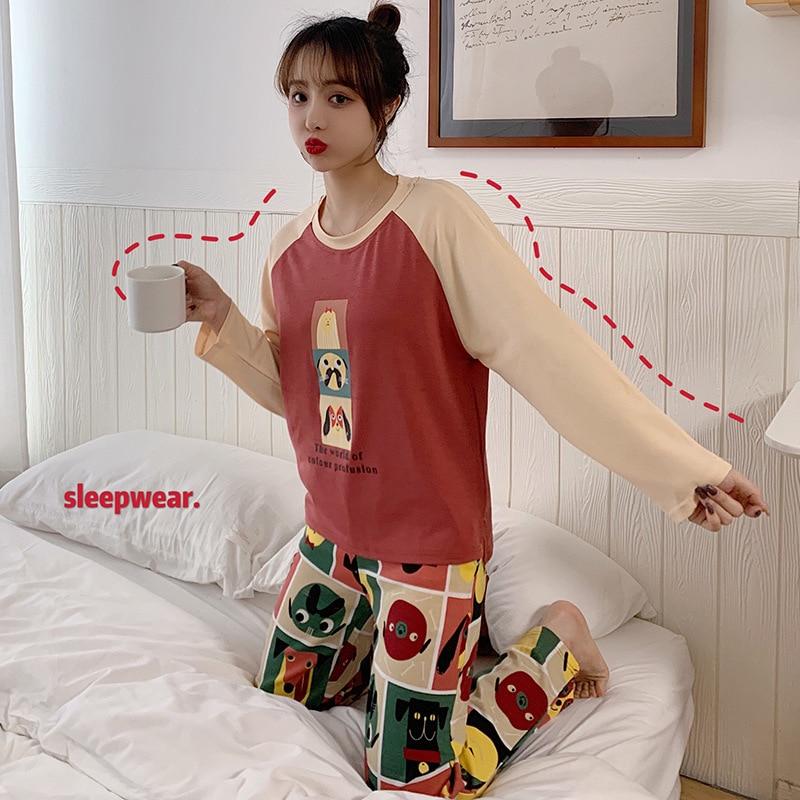 Spring New Style Pajamas Women Long Sleeve Trousers Cartoon Large Size Cotton Homewear Set Silk Filament Linen M -Xxxl