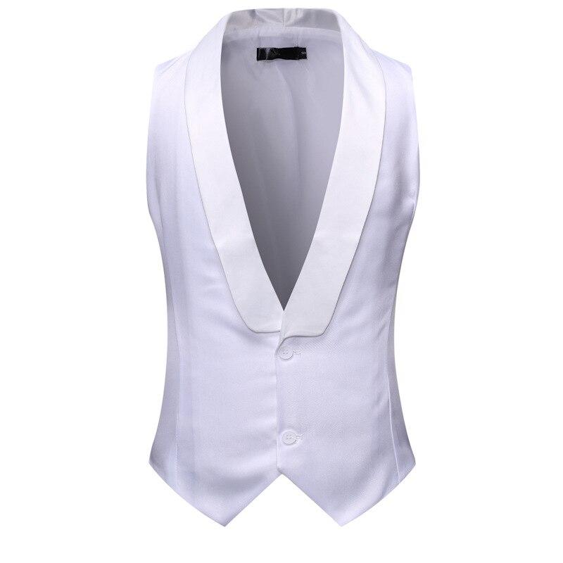 White Shawl Collar Suit Vest Men 2019 Brand New Slim Fit Sleeveless Vest Waistcoat Men Party Wedding Tuxedo Gilet Costume Homme