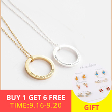 XiaoJing  925 Sterling Silver Linked Circle Necklace Personalized Customization Engraved Name Valentines Day Gift