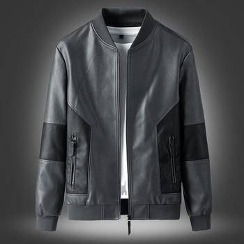Brand Men Jacket 2021 New Spring Fall Soft Leather Jackets For Man Clothing Long Sleeves Coat Fashion Korean Style Slim Clothing