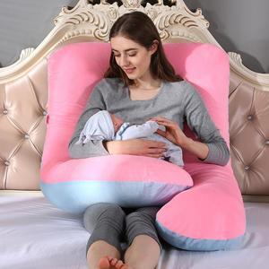 Image 5 - U צורת גוף כרית רחיץ נשים הריון יולדות כרית כריות חם זמש מיטת כרית להריון