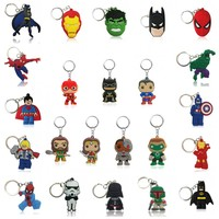 500pcs/lot Avengers Superheroes Cartoon Keychains Soft PVC Charms+ Key Rings Kid Gift Party Favors Key Covers Accessories