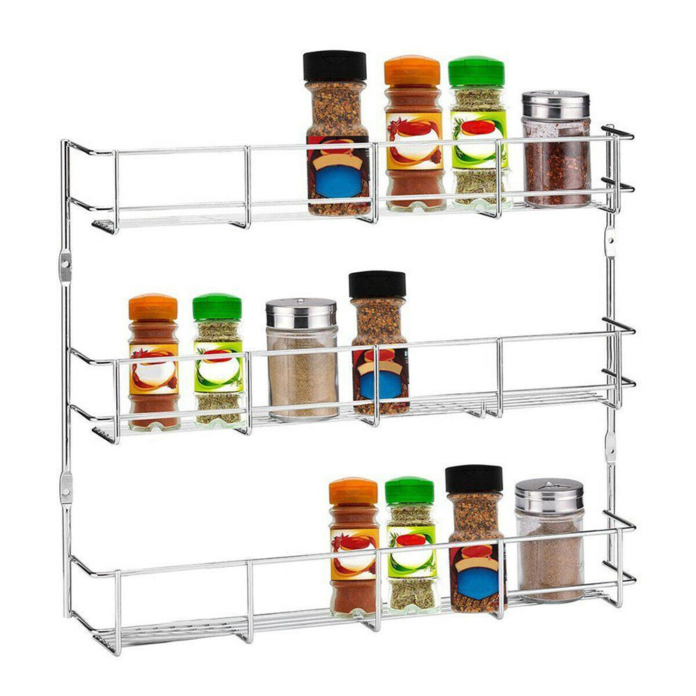 3 Tier Kitchen Spice Rack Wall Mounted Storage Rack Iron Home Seasoning Holder Organizer Kitchen Shelf Pantry