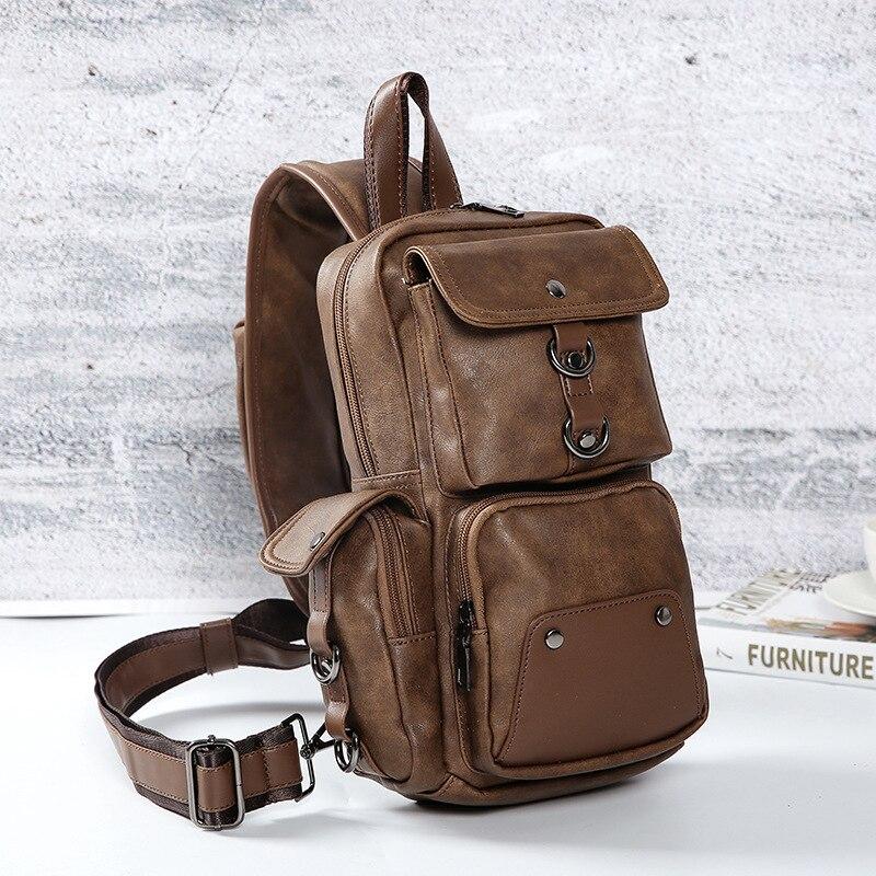 Высококачественная Мужская водонепроницаемая винтажная нагрудная сумка из искусственной кожи, модная дорожная сумка через плечо - 4