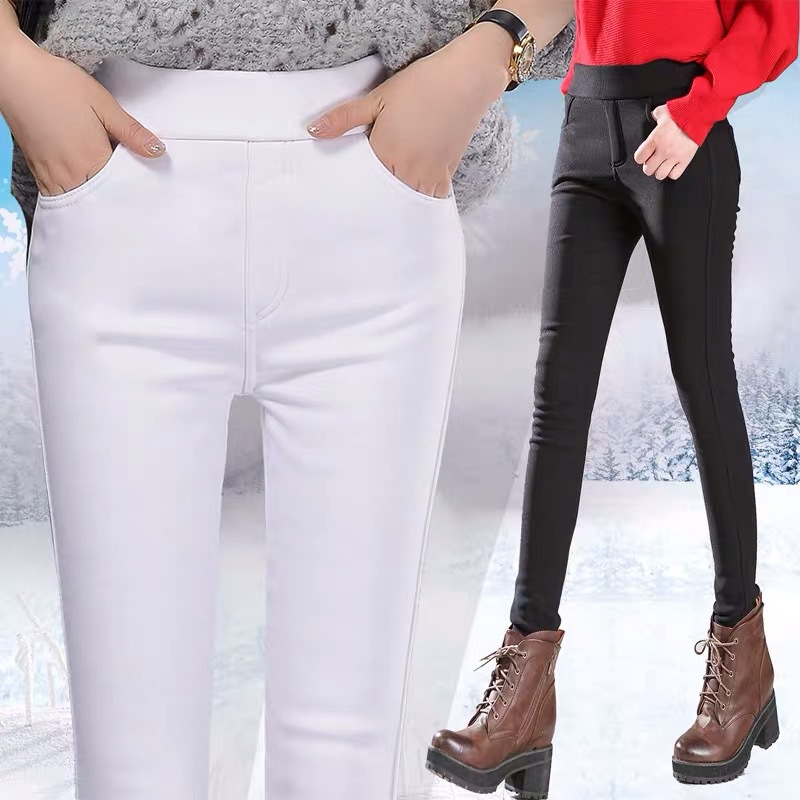 Pants Women Velvet Thick Black Casual Winter Warm Pencil Trousers Womens Warm Korean High Waist Pocket White Skinny Pant Female