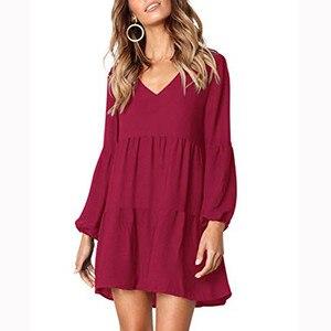 Женское платье, красное вино, осень 2019, повседневное офисное платье с длинным рукавом, v-образным вырезом, Драпированное Платье До Колена, мо...
