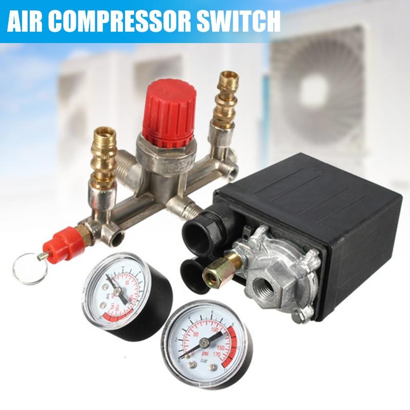 Air Compressor Pressures Switch Control Valves Manifold Regulator Gauge PAK55