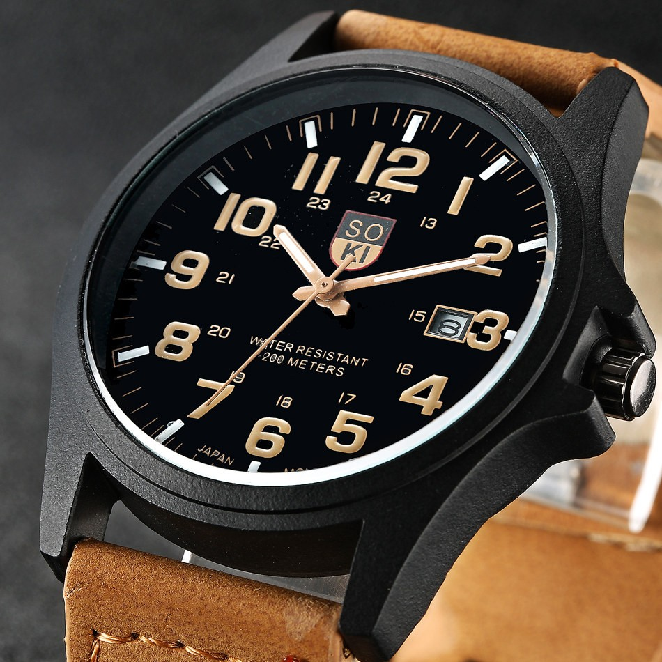 Brand Sport Military Watches Fashion Casual Quartz Watch Leather Analog Men 2019 New SOKI Luxury Wristwatch Relogio Masculino