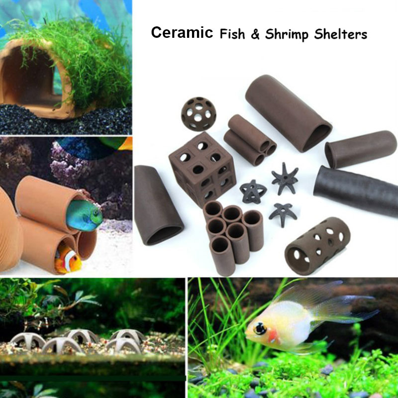 Shelters For Aquarium Ceramic Fish Shrimps Spawn Shelter Breed House Pottery Scorpion House Canister Simulation Stone Ornament