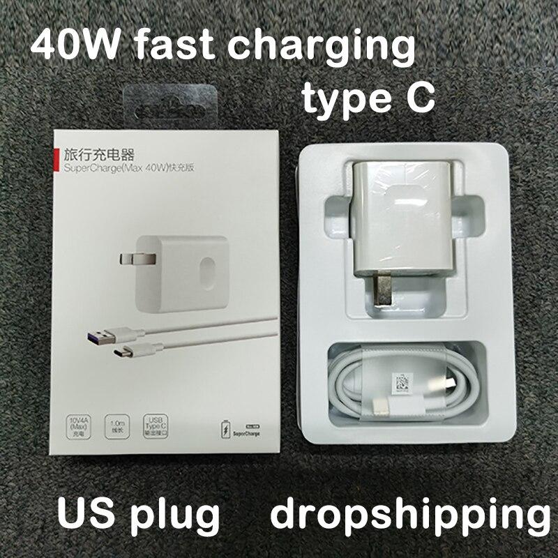 40w carregador super rápido com 5a tipo c cabo de dados de carregamento usb para huawei p40/mate 30 samsung iphone eua japão coreia 110v-220v