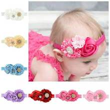 8 Cute Baby Girl Rose Elastic Hairband polyester Flower Newborn Headband Hair Band For Kids Accessories