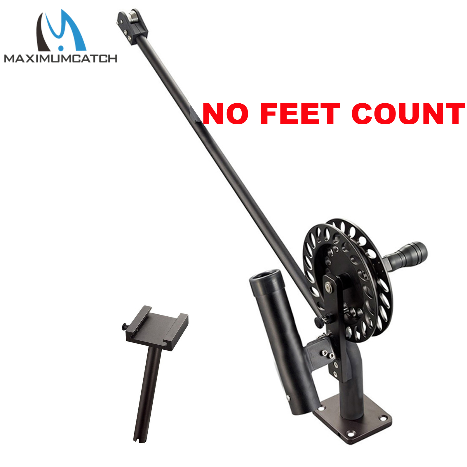 Maximumcatch Fishing Manual Downrigger With Feet Counter CNC Machine Aluminum With Adjustable Drag And Stop Pin Drag Lock