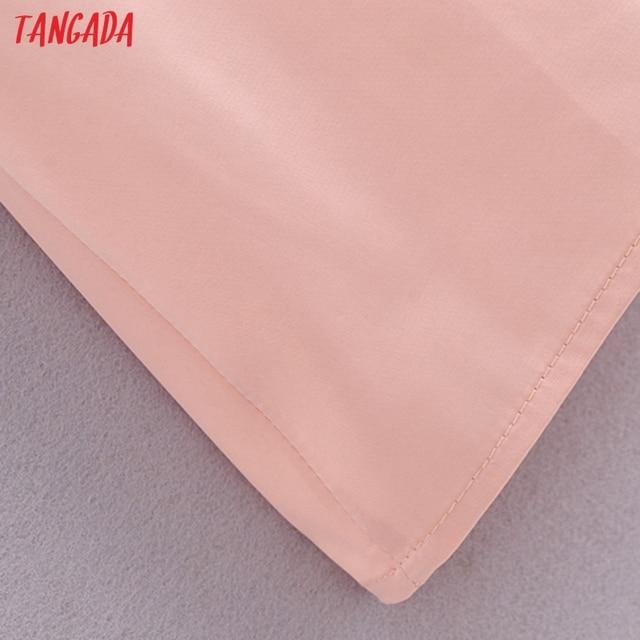 Tangada Women Beige Satin Dress Sleeveless Backless 2021 Fashion Lady Elegant Dresses QN172 5