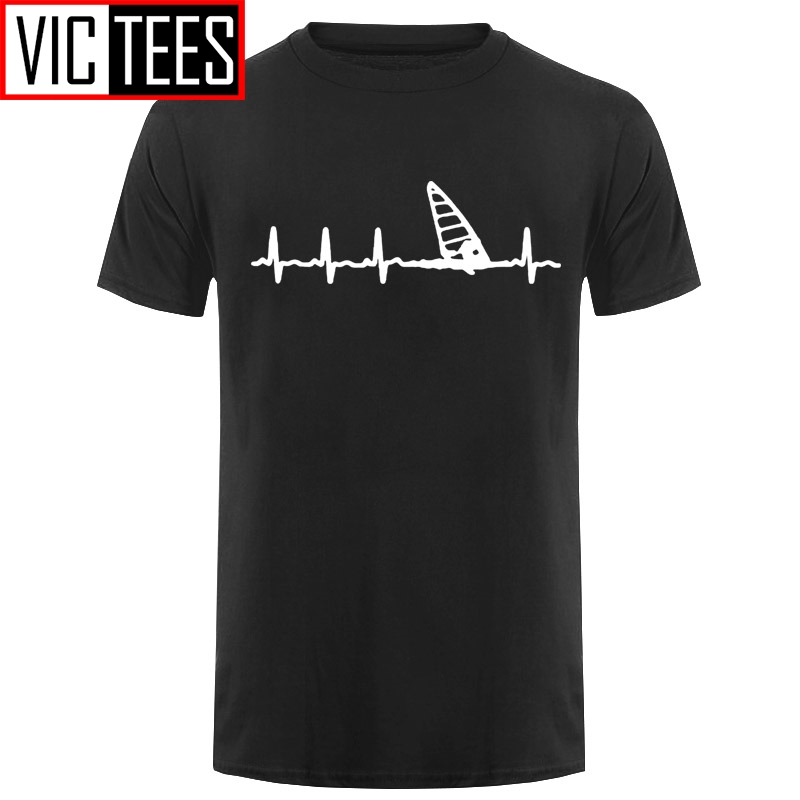 Men T Shirts Fashion Summer New O-neck T-Shirt Windsurfing Heartbeat T-Shirt 3D Print Tees Hip Hop Tops