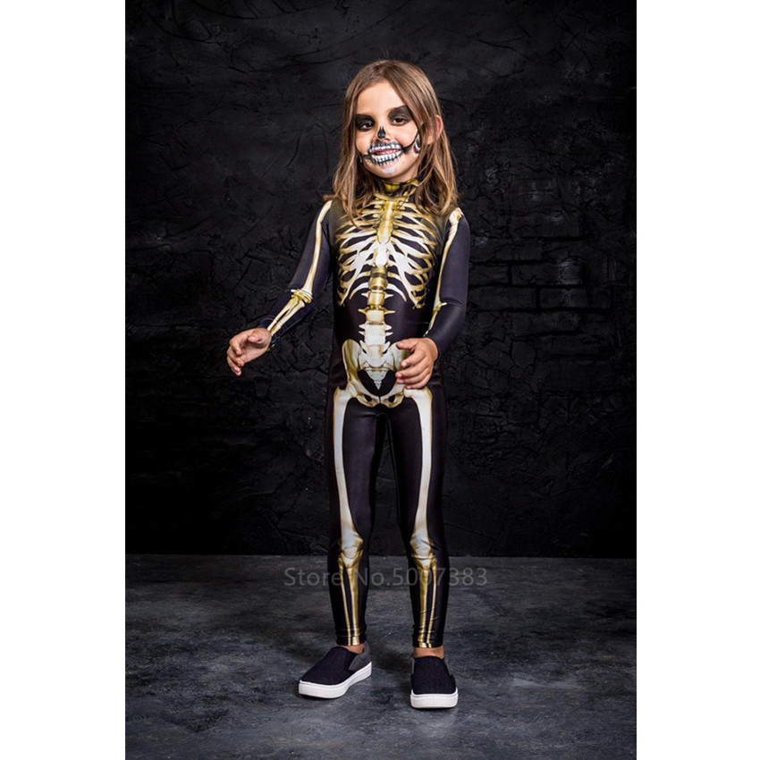 Bloody Zombie Scary Skeleton Costume For Kids Vampire Skull Jumpsuit Baby Girl Boy Cosplay Horror Gothic Bride Carnival Party