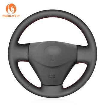 MEWANT Black Genuine Leather Car Steering Wheel Cover for Hyundai Getz (Facelift) 2005-2011 Accent 2006-2011 Kia Rio Rio5