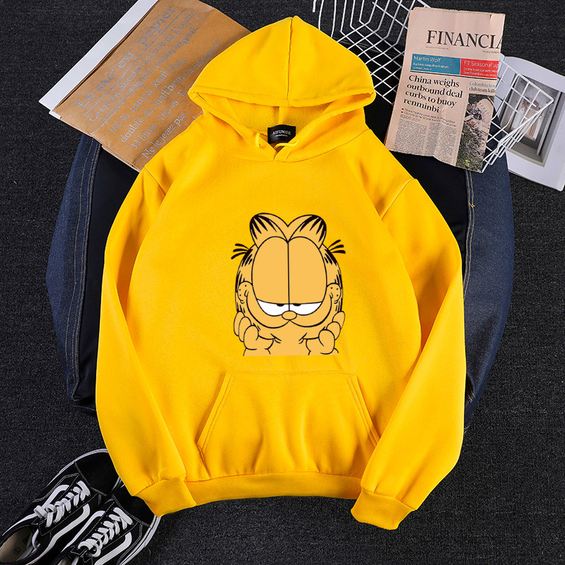 9271 Photo Shoot 190G 14 Yuan 250g 17 Yuan Autumn And Winter Loose-Fit Garfield Hooded Plus Velvet Large Hoody Men And Women