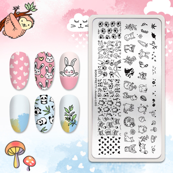 BORN PRETTY Animal Nail Stamping Plates Stainless Steel Stamp Template Stencils Tool For DIY Nail Art Image Printing Plates недорого