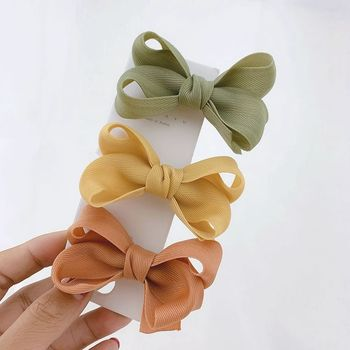 3PCS Children's Hair Accessories Twist 3.15 Bows Girls Hair Clip Baby Toddlers Side Barrettes Handmade Hairpin 12 pcs korean style baby girl soft fur ball hair clip handmade barrettes head accessories new lovely gift for baby girls
