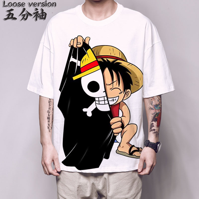 One Piece Luffy T <font><b>Shirt</b></font> Big print cosplay 5 Sleeve T-<font><b>shirt</b></font> funny fashion <font><b>Korean</b></font> Harajuku student <font><b>oversized</b></font> Streetwear tee <font><b>shirt</b></font> image