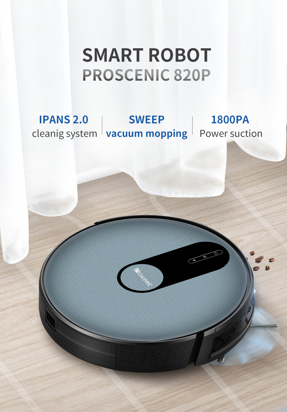 H35af6c11047040599d3668c0f307bc24Q Proscenic 820P Robot Vacuum Cleaner Smart Planned 1800Pa Suction with wet cleaning for Home Carpet Cleaner Washing Smart Robot