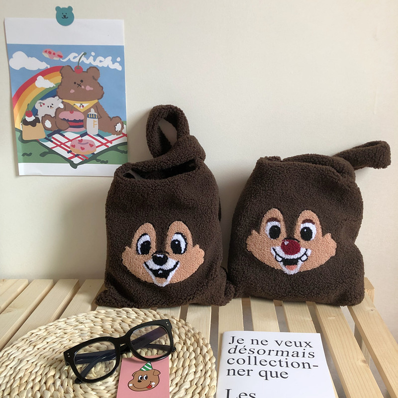 plush shoulder bag winter cartoon handbags cute squirrel face embroidery  hand bag  women solid color ladies bag tote  28*30cm