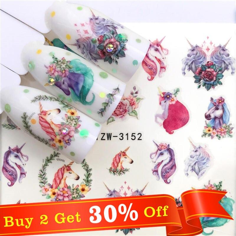Wuf 1 folha de veados/cavalo flor transferência de água etiqueta do prego decalques beleza decoração projetos diy cor tatuagem ponta