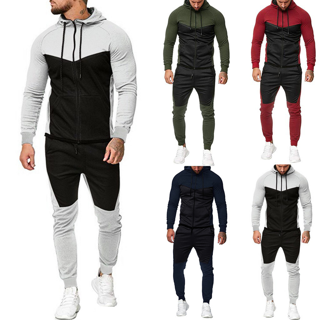 Men's Sportsuits Set Autumn Splicing Zipper Print Sweatshirt Top Pants Sets Sport Suit Tracksuit Big Size Casual Sportswear#G2