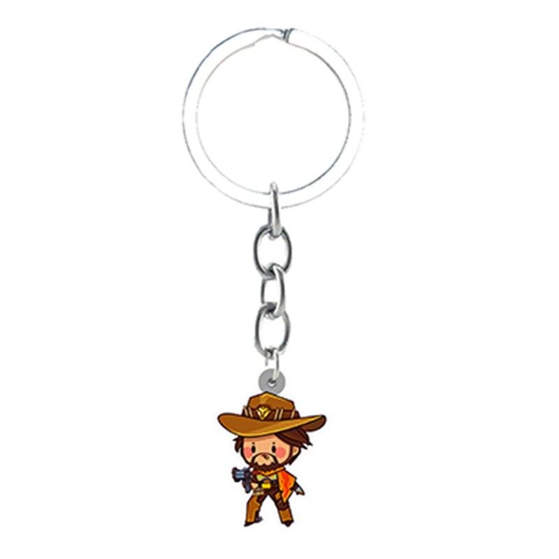 TAFREE Overwatch Keychain Acrylic Epoxy resin Key Chain Pendant Anime Accessories Cartoon Key Ring Handmade