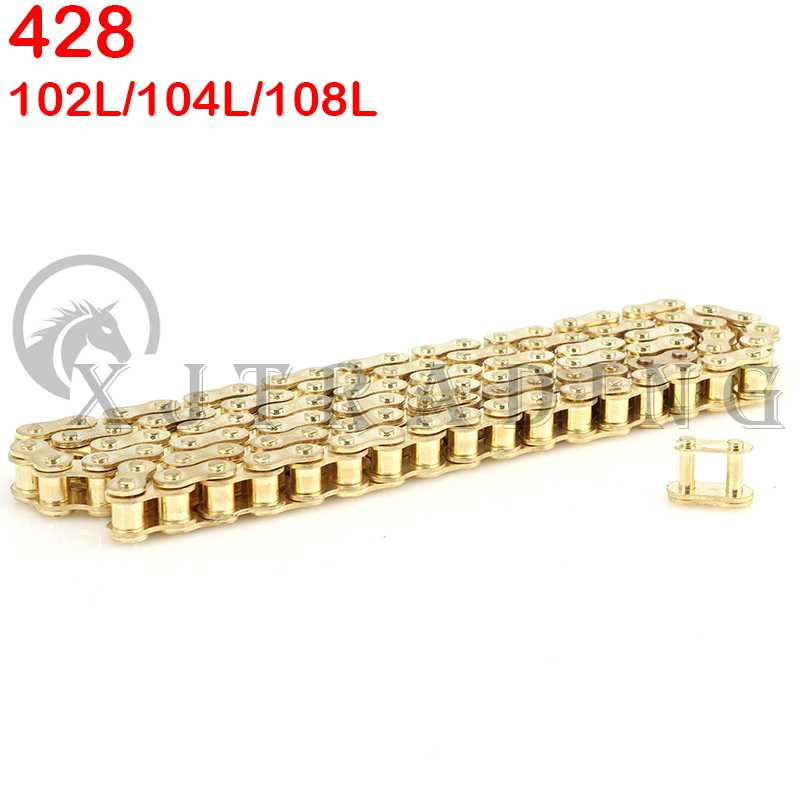 Gold 428 102/104/108 links GOLD O-RING chain 110-150cc dirt bike/pit bike 428 Chain Gold For CRF 50 70 SSR Pit Dirt Bike