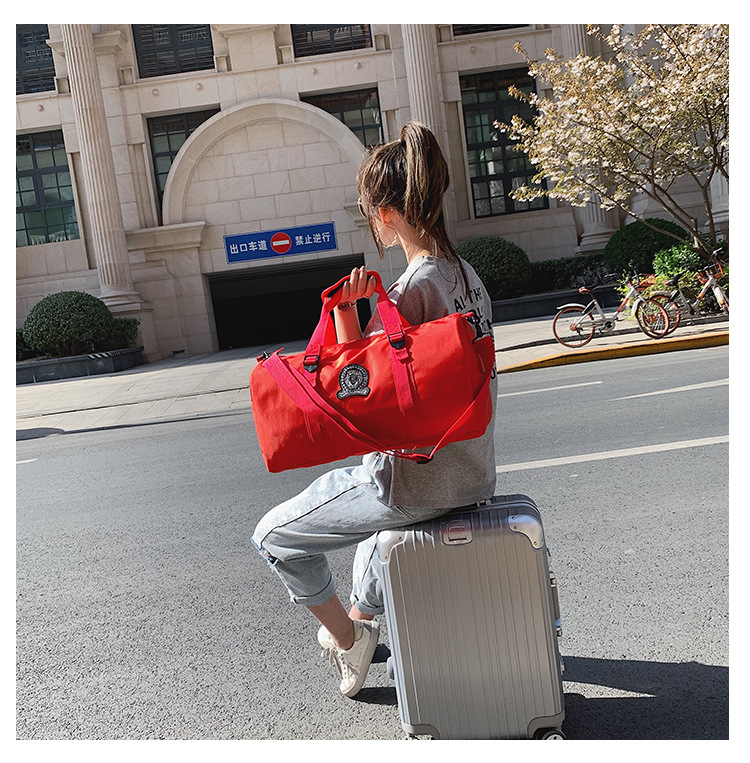 Leisure Travel Luggage, Travel Fitness Bags, Simple Solid Color Luggage Duffel Bag  Pink Duffle Bag