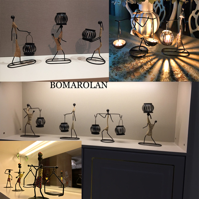 Vintage Candle Holders Home Decoration Metal People Model Candelabros Decorative Creative Candlestick Party Wedding Centerpices 2