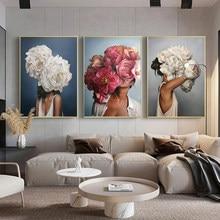 Póster de flores y plumas para mujer, lienzo abstracto moderno, impresión artística, cuadro de moda, pintura de pared para decoración del hogar y sala de estar