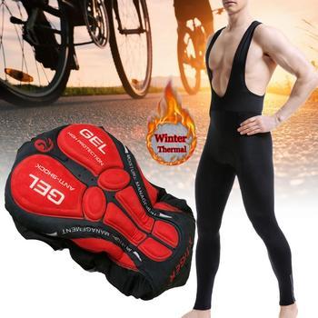 Zimowe polarowe męskie spodenki na rower z szelkami ciepłe odblaskowe rower MTB rajstopy rowerowe spodnie rowerowe MTB spodnie z wyścielane żelem 3D tanie i dobre opinie CN (pochodzenie) Biały pas Cycling Pants