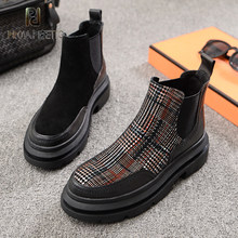 Prova perfetto 2020 outono inverno novo dedo do pé redondo plana martin botas femininas estilo britânico costura xadrez deslizamento-on curto tornozelo botas