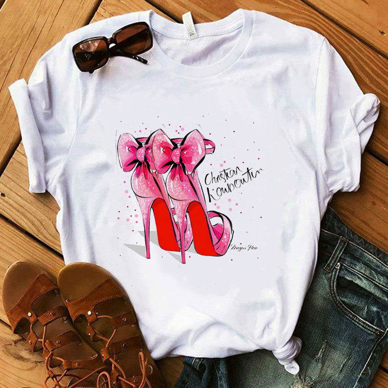Pink High Heel <font><b>Bow</b></font> <font><b>T</b></font> <font><b>Shirt</b></font> Women 100% Cotton Summer <font><b>Shirt</b></font> Lady Floral Heart Tees Harajuku Casual <font><b>T</b></font>-<font><b>shirt</b></font> Luxury Tops Gift image