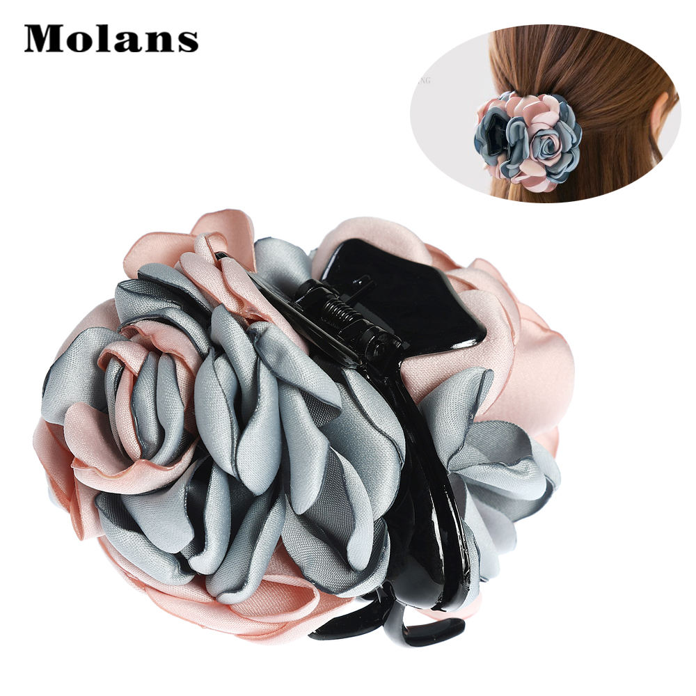 Molans Fabric Floral Acrylic Hairpin Patchwork Colors Flower Claw Clip For Women Durable Girl Hair Accessories