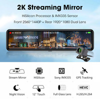 OLPAY Car Dvr stream media Rear View Mirror Full HD 12 Inch 2K+1080P Dash cam Dual Lens Video Recorder Android GPS Car Camera