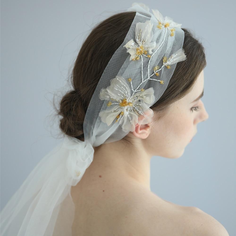 Handmade Embroidery Bridal Veil Sequins Beaded Wedding Headpiece Fashion Boho Brides Hair Accessories