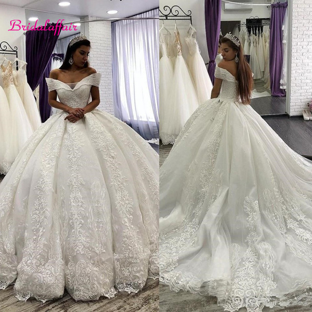 Hot Promo 5c78 Arabic Lace Ball Gown Wedding Dresses Off The Shoulder Chapel Wedding Gowns Sequins Beaded Plus Size Bridal Dress Cicig Co