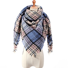 2019 New Winter Women Triangle Scarf Cashmere Warm Shawl Plaid Poncho Bandana Stoles Blanket Pashmina Triangular For