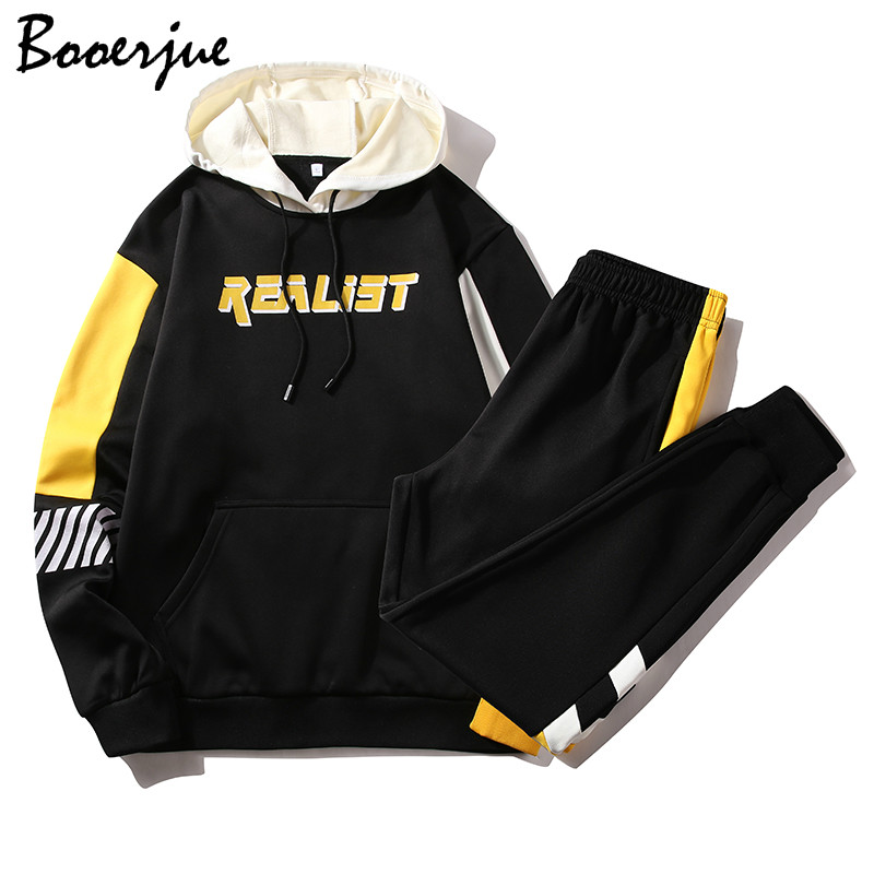 Men Set Hoodies+Sweatpants Men Spring Fleece Harajuku Japanese Streetwear Hip Hop Sweatshirt Male Yellow Hoodie Men Sweatshirts
