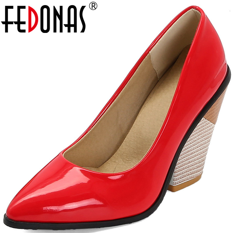 FEDONAS Women Pumps2020 Popular Sexy Patent Leather High Heeled Classic Design Prom Party Shoes Top Quality Spring Summer Shoes